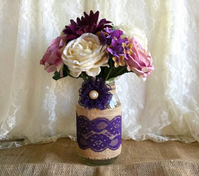 Purple burlap and lace covered mason jar vase wedding Wedding dress vase