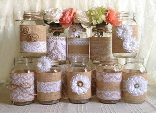 Wedding Ideas Using Mason Jars: 10x Rustic Burlap And White Lace Covered Mason Jar Vases