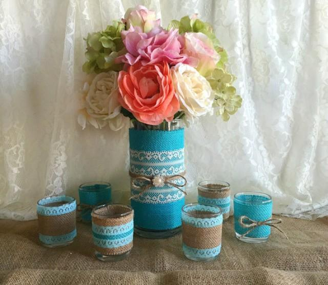 Tiffany Blue Wedding Decorations: Tiffany Blue Burlap And Lace Covered Votive Tea Candles