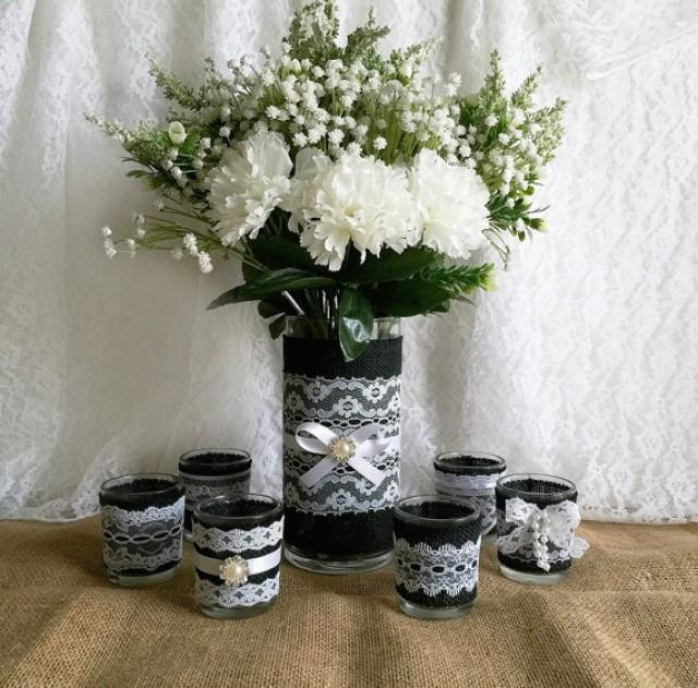 Black Burlap And White Lace Covered Votive Tea Candles And