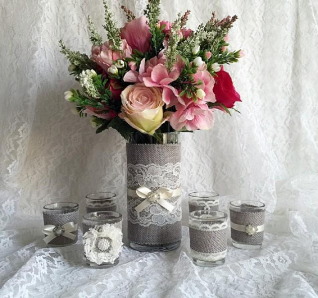 Rustic Light Grey And Ivory Burlap And Lace Covered Votive