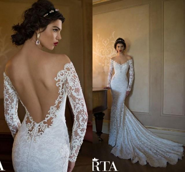 Cheap berta wedding dresses discount berta 2015 mermaid for Backless wedding dresses with sleeves
