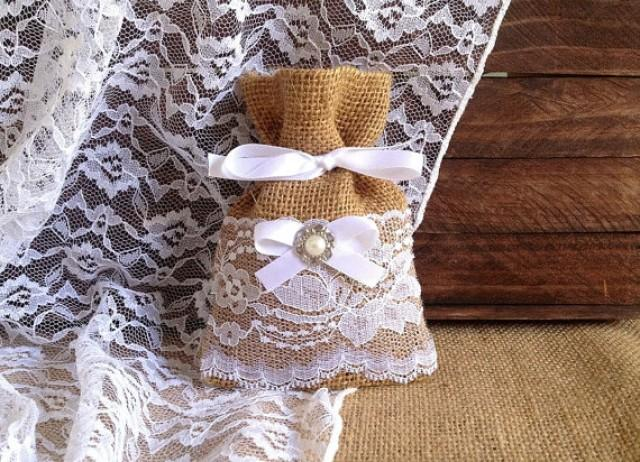 10 white lace covered natural burlap favor bags  wedding