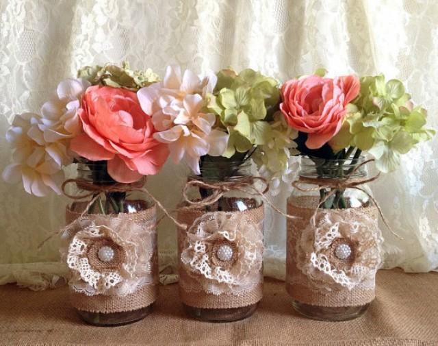 Baby Shower Themes Lace ~ Rustic burlap and lace covered mason jar vases wedding