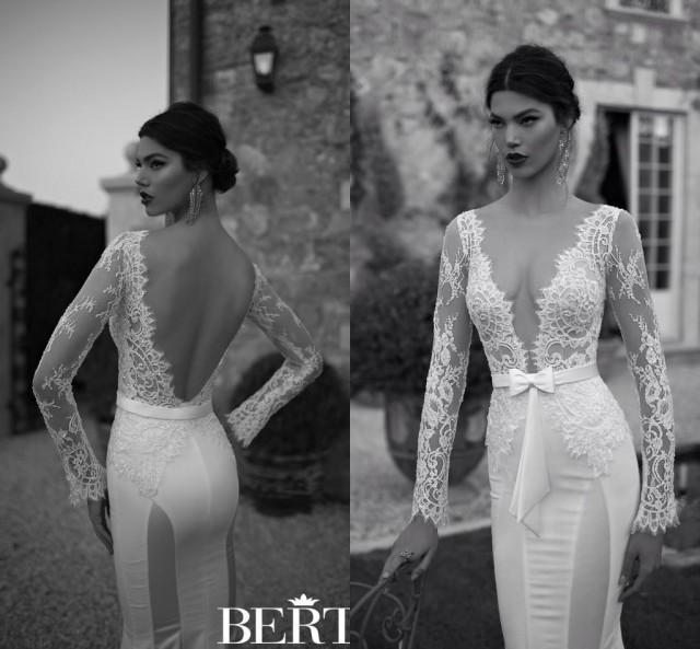 2015 New Elegant Full Long Sleeves Mermaid Wedding Dresses: Discount Hot Sale Berta 2015 Mermaid Wedding Dresses Deep