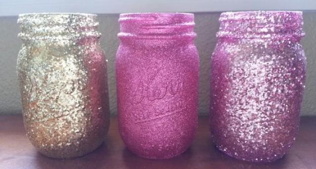 glittered mason jars pink glitter gold glitter wedding mason jar