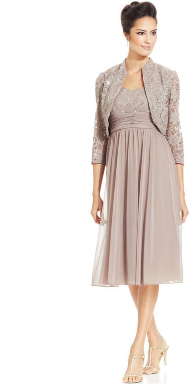 R&M Richards Petite Sequin-Lace Chiffon Dress And Jacket #2210192 ...