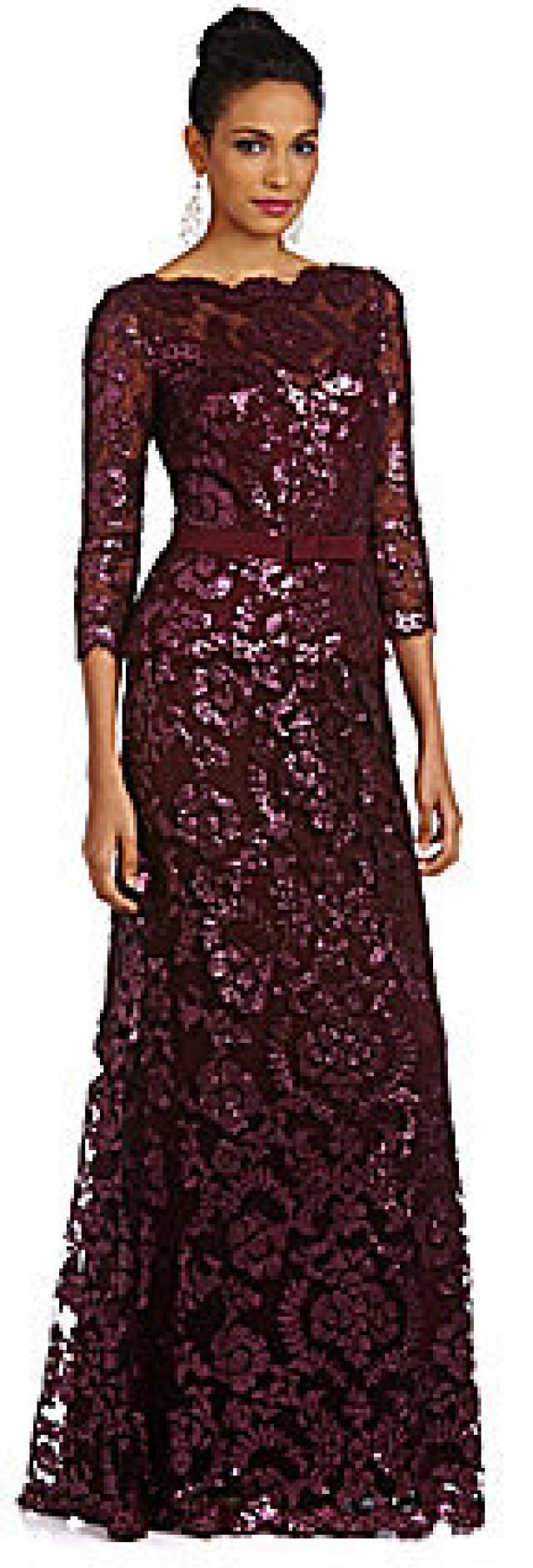 Tadashi Shoji Red Lace Evening Dress
