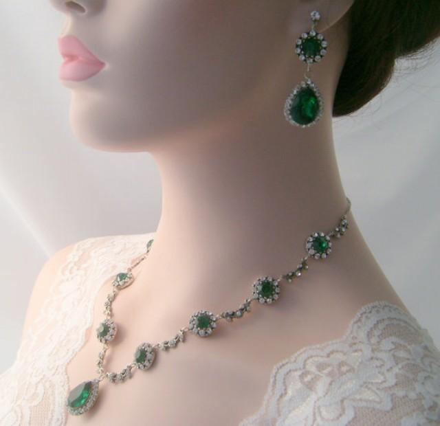 Bridal Necklace Set Emerald Green Vintage Inspired Art