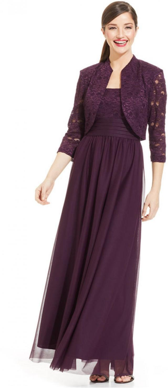 R&M Richards Glitter Lace Empire-Waist Gown And Jacket #2211948 ...