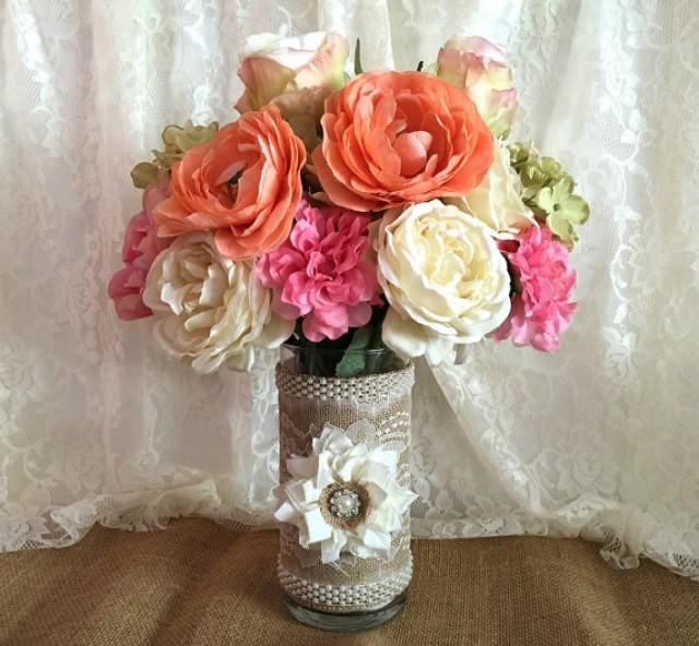 burlap and lace covered glass vase wedding decoration. Black Bedroom Furniture Sets. Home Design Ideas