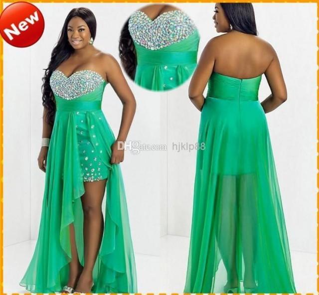 Custom Plus Size Hot Sale Green Sweetheart Chiffon High