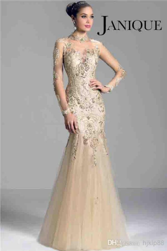 ba10127bbe8 Janique W321 Champagne 2014 Long Sleeve Mother of the Bride Dresses Sheer High  Neck Lace Applique Beads Mermaid Prom Evening Formal Gowns