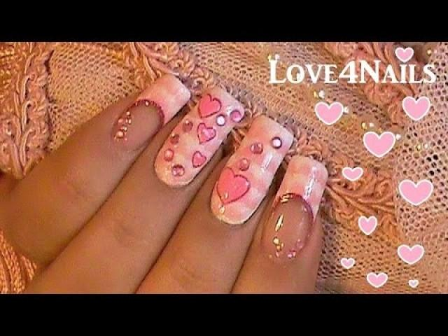Hearts And One Stroke Technique Nail Art 2213831 Weddbook
