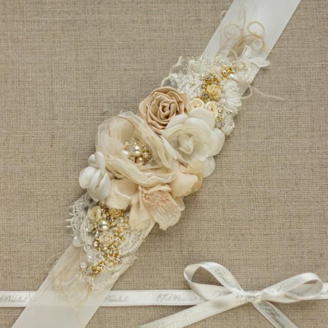 Shabby wedding bridal belt sash wedding dress belt for Vintage wedding dress belts
