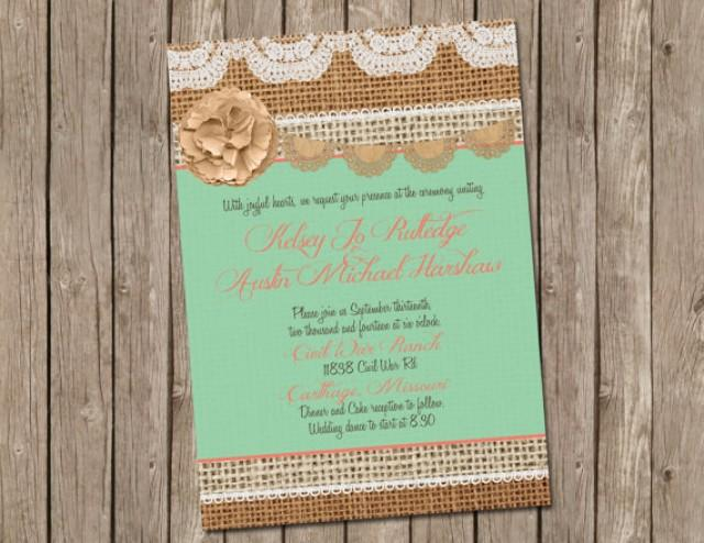 Mint Green And Gold Wedding Invitations: Mint And Coral, Burlap Wedding Invitation, Bridal Shower