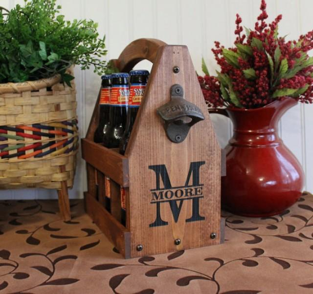 Personalized Handmade Christmas Gift Guide: Wooden Beer Tote Personalized Beer Tote Handmade Beer Tote