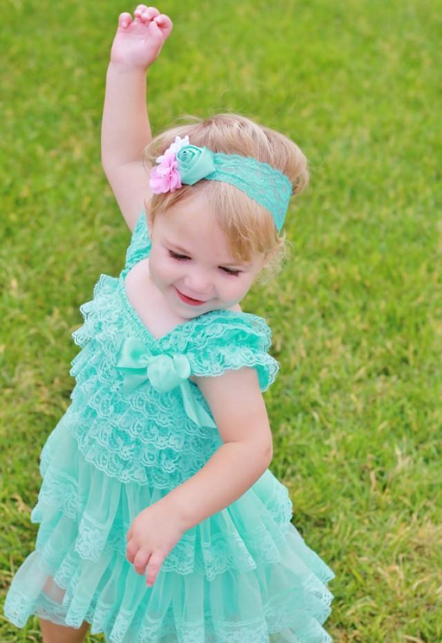 Lovely Aqua Lace Baby Dress Headband Set Aqua Toddler