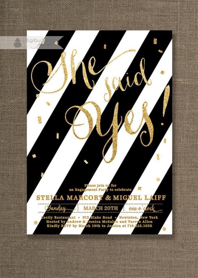 Gold Glitter Engagement Party Invitation Black White Stripes ...