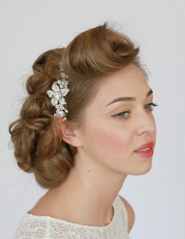 bridal headband crystal headband rhinestone headband bridal hair accessories vintage wedding. Black Bedroom Furniture Sets. Home Design Ideas