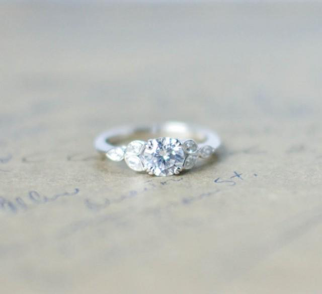 Silver Art Deco Engagement Ring - Vintage Wedding Ring ...
