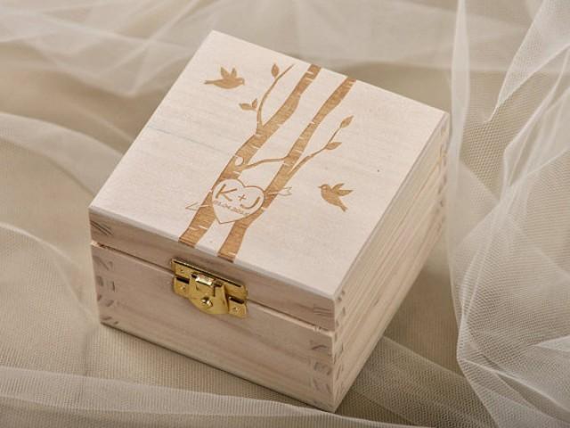Wood Wedding Ring Bearer Box, Rustic Wooden Ring Box