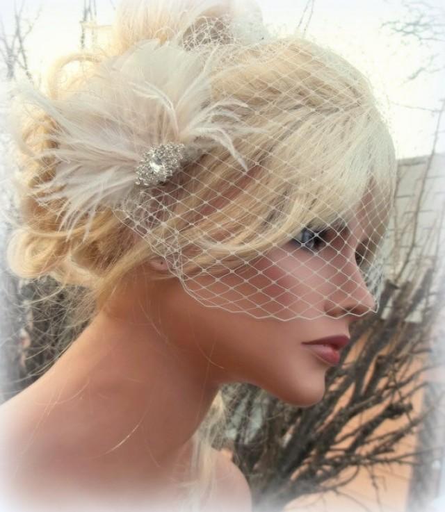 Vintage Wedding Hairstyles With Birdcage Veil: Wedding Ivory Bridal Hair Fascinator Birdcage Veil Vintage