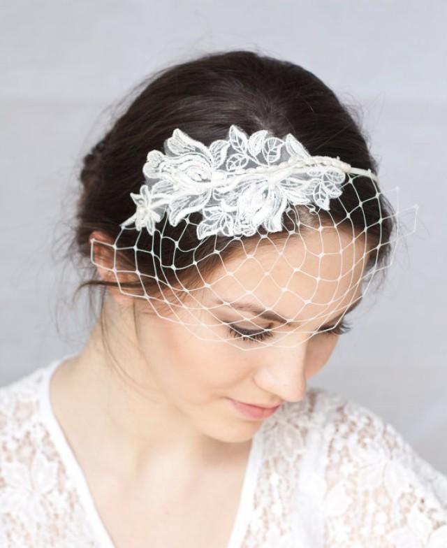 Bridal Ivory Birdcage Veil With Lace, Wedding Veil ...  Bridal Ivory Bi...
