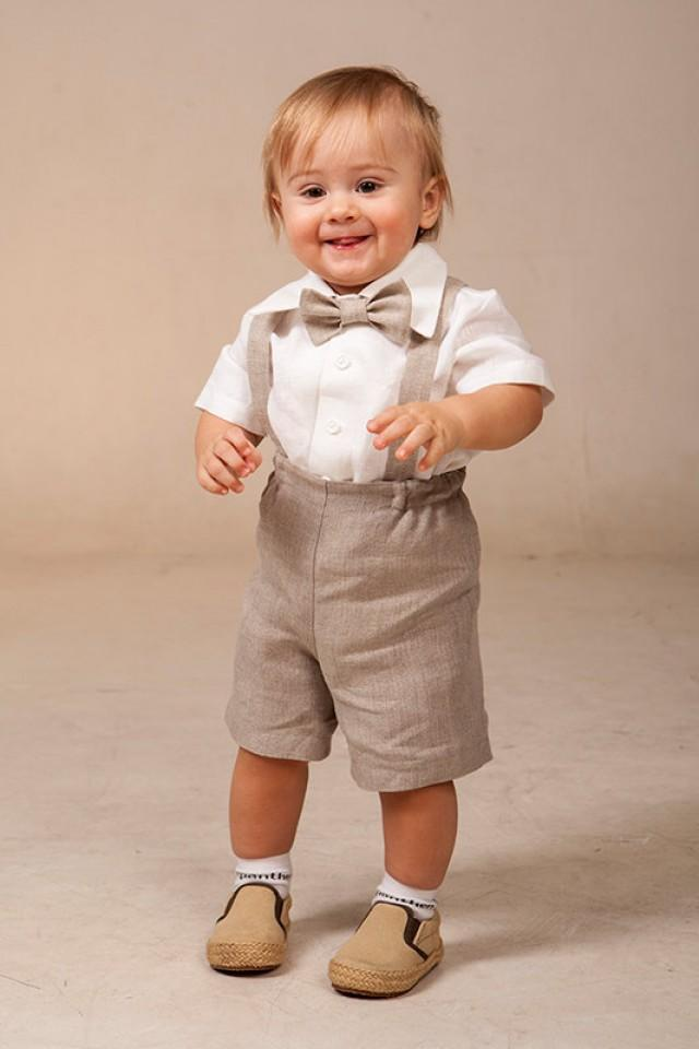 Baby Boy Linen Suit Ring Bearer Outfit SET Of 4 First Birthday Baptism Suspenders Kids Natural Clothes Rustic Wedding Summer Family Photo 2214672