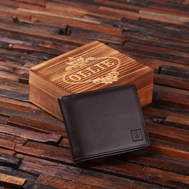 52a9e840fe48 Personalized Monogrammed Engraved Genuine Leather Bifold Mens Wallet with  Optional Wood Gift Box Groomsmen
