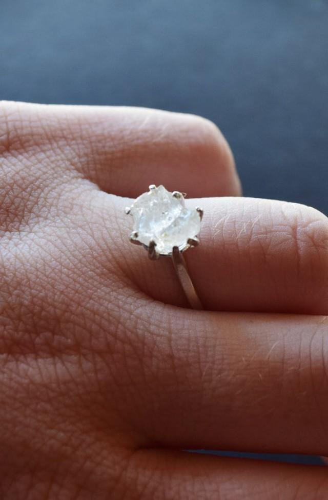 Raw Diamond Engagement Ring Rough Diamond Jewelry Natural And