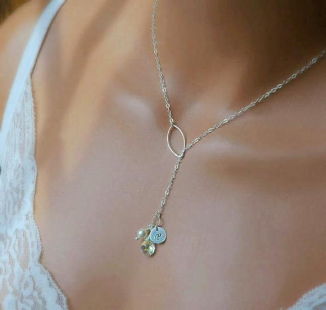Personalized Mothers Necklace Birthstone And Initial
