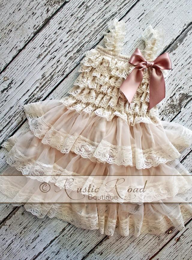 Rustic Flower Girl Dress Choose Bow Color Lace Ruffle
