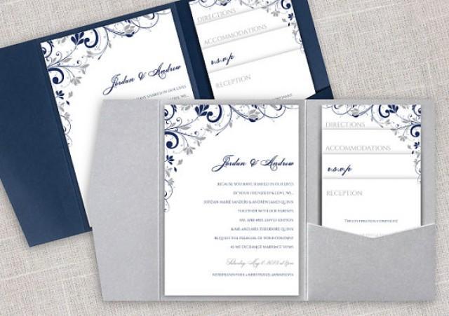 Wedding Invitation Sms Format: Pocket Wedding Invitation Template Set