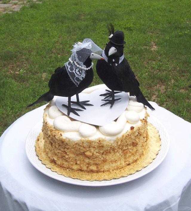Halloween Wedding Cake Topper Crow Bird Couple Gothic