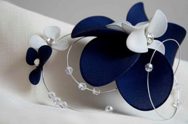 Swarovski bridal headpiece Navy Blue and ivory fascinator Fascinator  headband Simple fascinator Flower headpiece Wedding hair comb 6940ea54bb6
