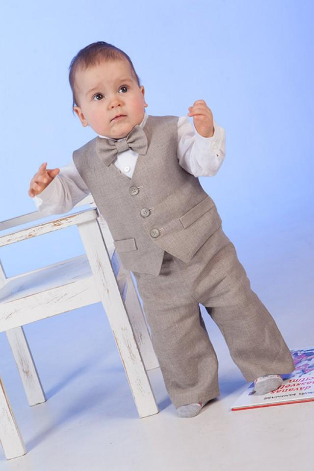 Boy Linen Suit Ring Bearer Outfit Baby Boy Natural Clothes Baptism ...