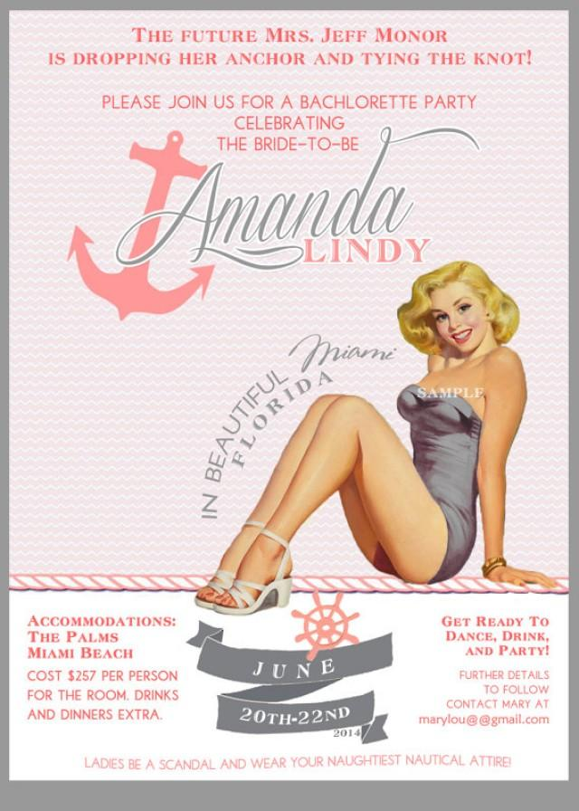 Pink And Gray Nautical Vintage Pin Up Girl Invitation Bachelorette ...