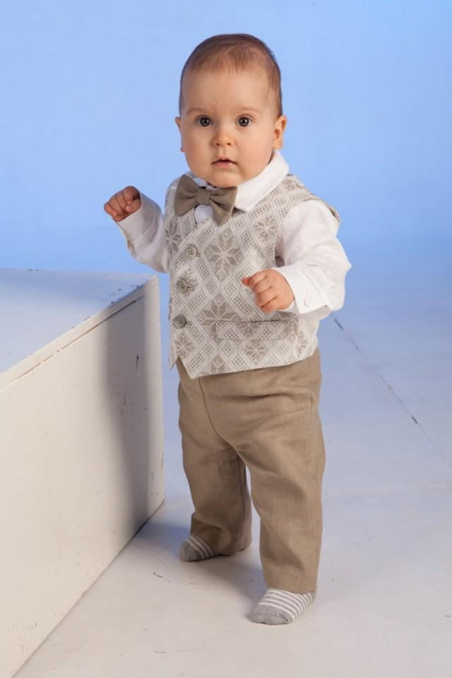Baby Boy Linen Suit Baptism Outfit Baby Clothes Ring