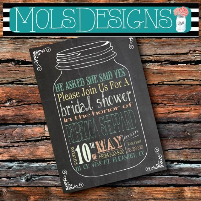 108a1d859dbe MASON JAR Vintage Chalkboard Purple Lilac Peaches   Cream Turquoise Mint  Rehearsal Wedding Bridal Brunch Baby Shower Graduation Invitation
