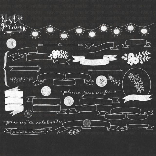 Chalkboard clipart flowers: Digital clipart