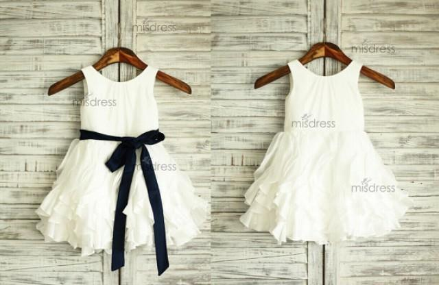 Taffeta Ruffle Flower Girl Dress Navy Blue Sash Wedding