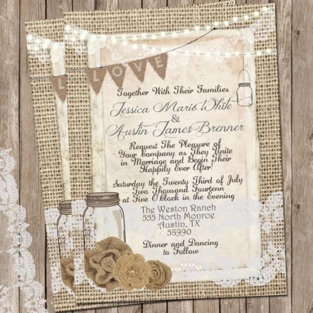 Rustic Burlap And Lace Wedding Invitation Invite Mason Jar