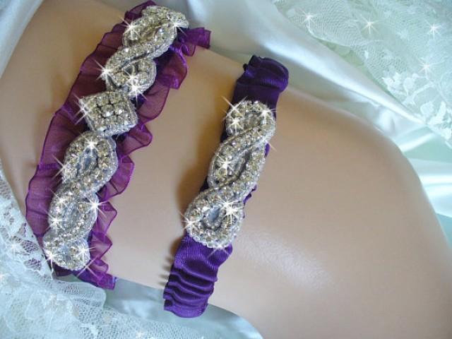 Plum Purple Organza Wedding Garter Bridal Belts Crystal Rhinestone 2216343