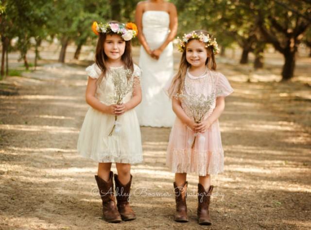 Pink Toddler Girls Lace Dress Vintage Toddler Girls Dress