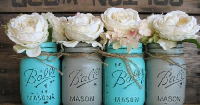 Pint Mason Jars Ball Painted Flower Vases Rustic Wedding Centerpieces Turquoise And Grey 2216717
