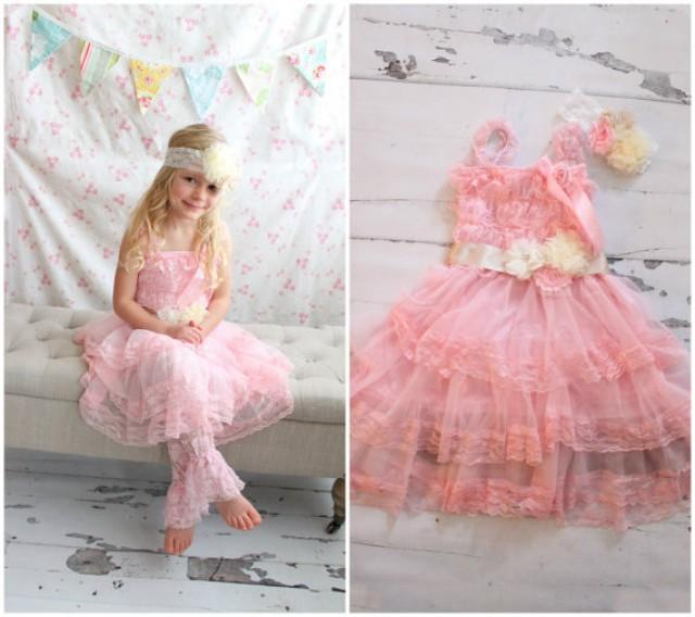 flower girl lace dress easter outfit valentines dress baby girl girls 45 chiffon lace dress rose sash headband hair bow leggings 2217565
