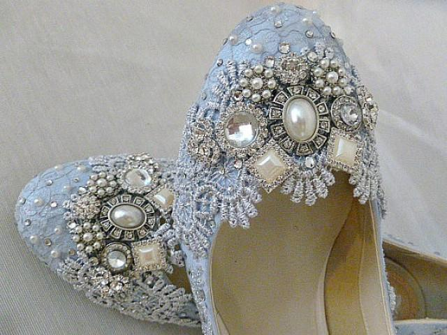 Blue And Silver Twinkle Toes Wedding Shoes.. Low Heels...Extreme Comfort  #2217570   Weddbook