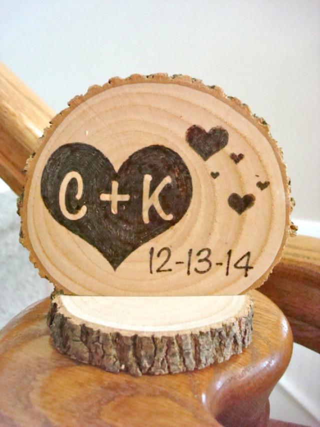 Personalized Rustic Wedding Cake Topper Wood Hearts Small