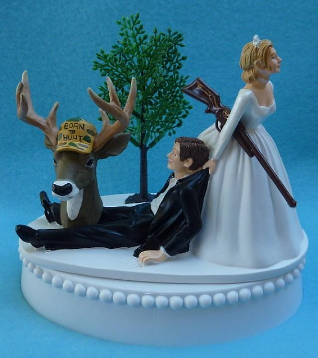 Wedding Cake Topper Deer Hunter Hunting Rifle Themed Groom